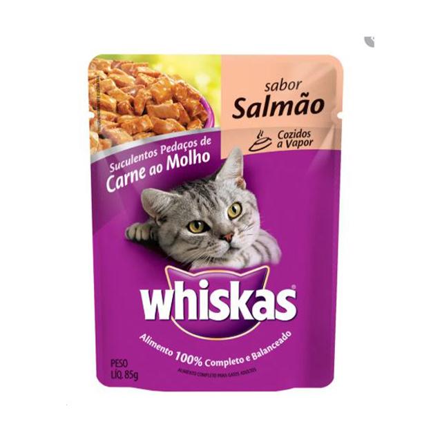 Ração Úmida para Gatos Whiskas Salmão Sachê 85g