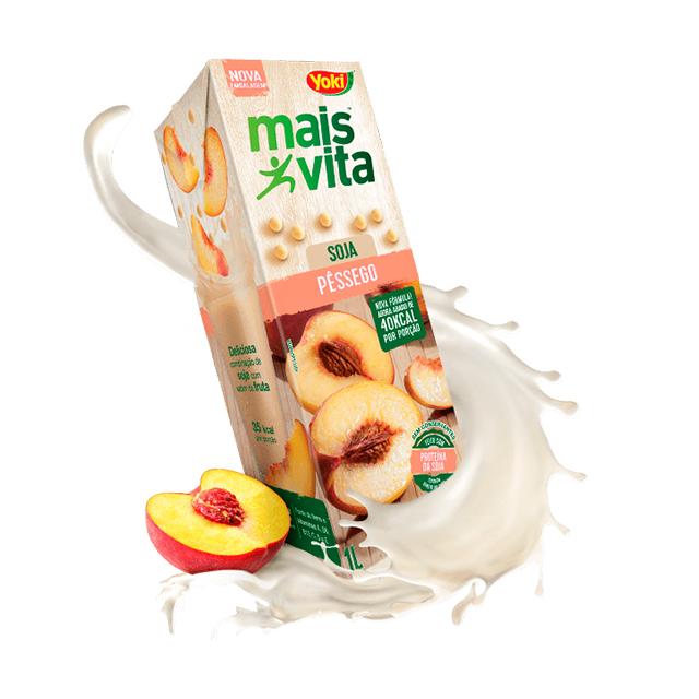 Bebida de Soja Yoki Mais Vita Pêssego 1L