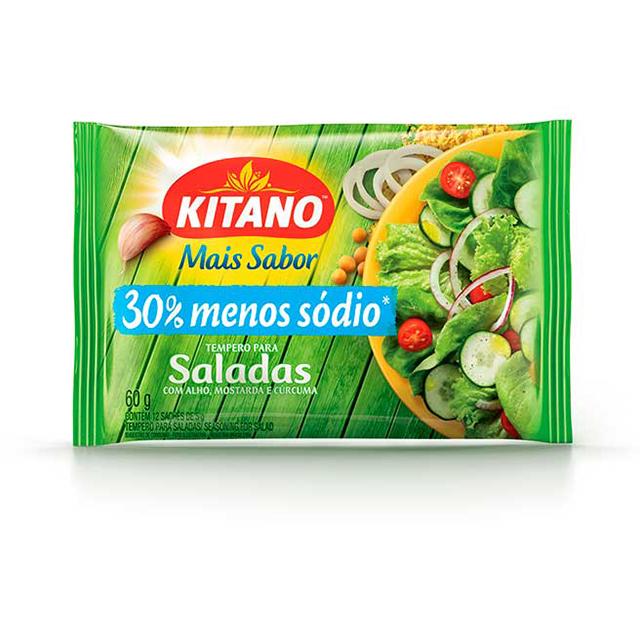 Tempero em Pó Kitano Mais Sabor para Salada 60g | Com 12 Sachês