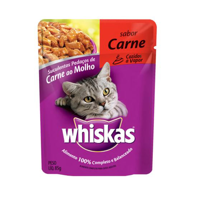 Ração Úmida para Gatos Whiskas Carne Sachê 85g