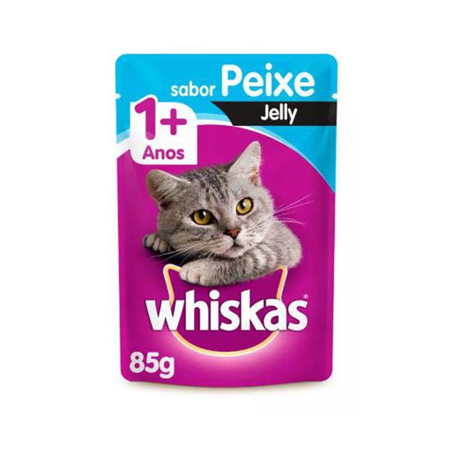 Ração Úmida para Gatos Whiskas Jelly Peixe Sachê 85g
