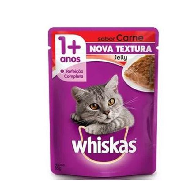 Ração Úmida Para Gatos Whiskas Jelly Carne Sachê 85g