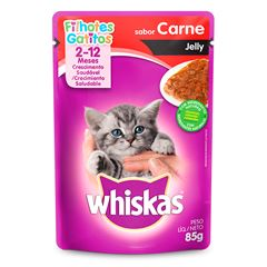 Ração Úmida Para Gatos Whiskas Jelly Filhotes Carne Sachê 85g