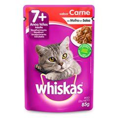 Ração Úmida Para Gatos Whiskas + 7 Anos Carne Sachê 85g