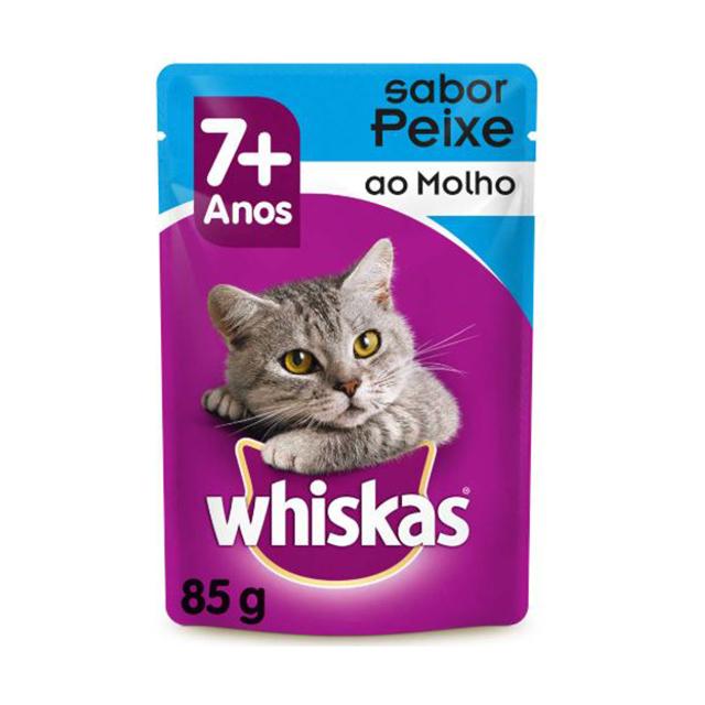Ração Úmida Para Gatos Whiskas + 7 Anos Peixe Sachê 85g