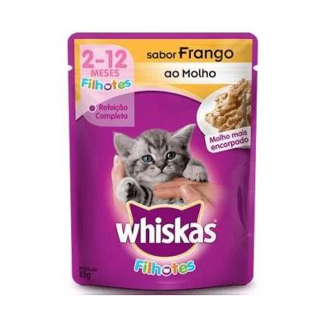 Ração Úmida para Gatos Whiskas Filhotes Frango Sachê 85g