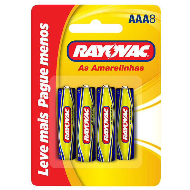 Pilha Rayovac Amarelinha Palito AAA8 | Com 8 Unidades
