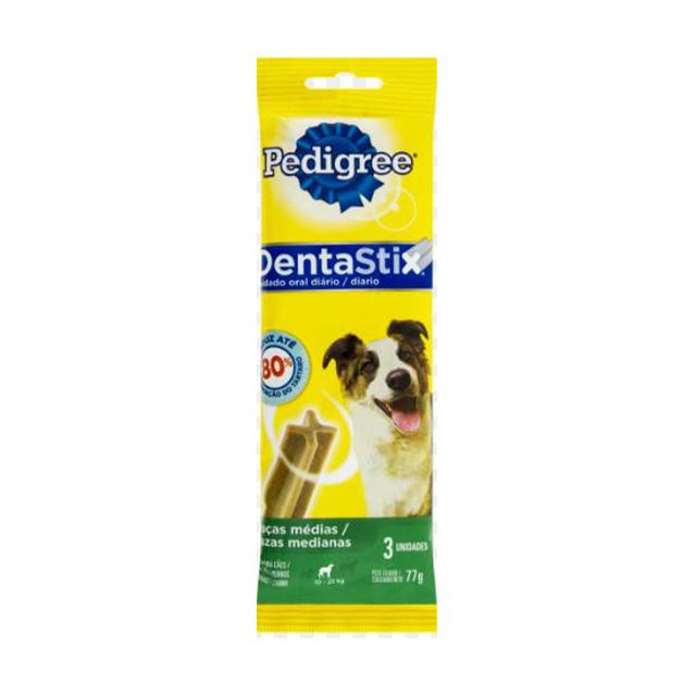 Petisco Para Cães Pedigree Dentastix Raças Médias Stick 77g | Com 3 Unidades