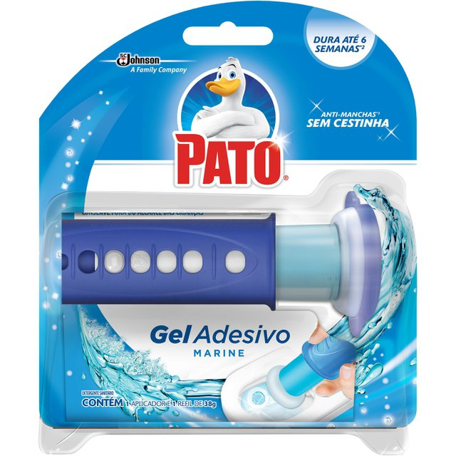 Desodorizador Sanitário Pato Gel Adesivo Aplicador + Refil Marine 1 unidade