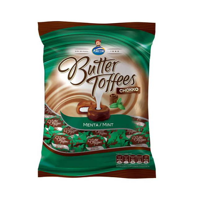 Bala Recheada Arcor Butter Toffees Chokko Menta 600g