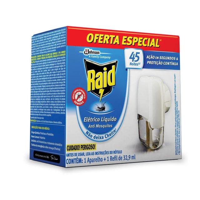 Repelente Elétrico Líquido Raid Anti Mosquitos 1 Aparelho + 1 Refil De 32,9 Ml