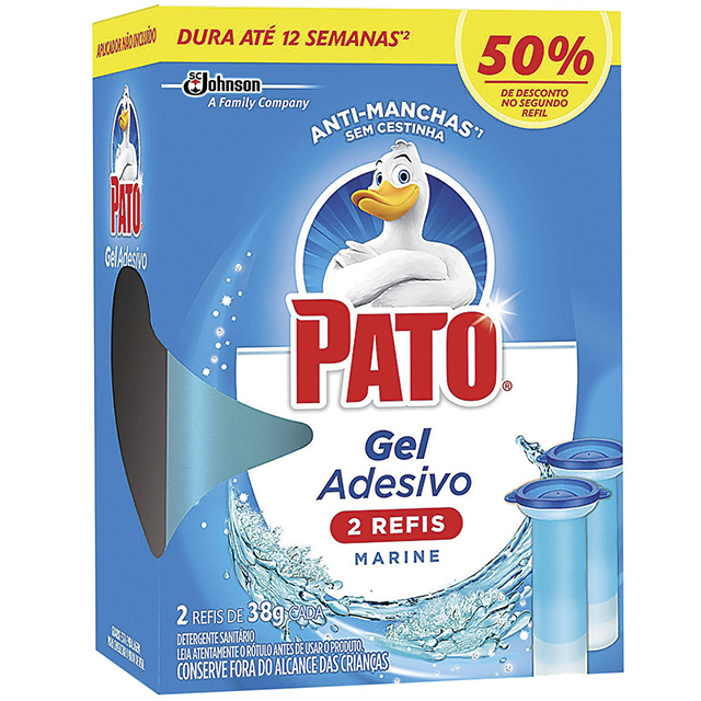 Desodorizador Sanitário Pato Gel Adesivo 2 Refis Marine 12 discos