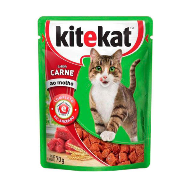 Ração Úmida para Gatos Kitekat Carne Sachê 70g