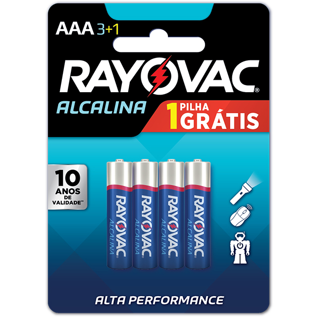Pilha Rayovac Alcalina Pequena AAA Leve 4 Pague 3 Unidades