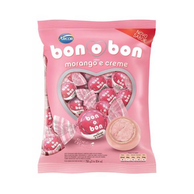 Bombom Arcor Bon O Bon Morango E Creme 750g