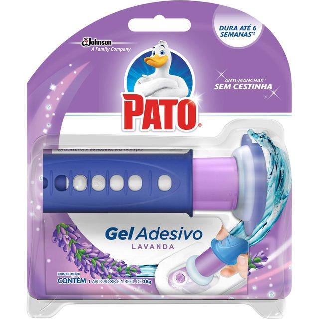 Desodorizador Sanitário PATO Gel Adesivo Aplicador + Refil Lavanda 6 discos