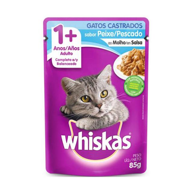 Ração Úmida Para Gatos Whiskas Castrados Peixe Sachê 85g