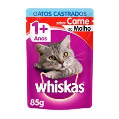 Ração Úmida Para Gatos Whiskas Castrados Carne Sachê 85g