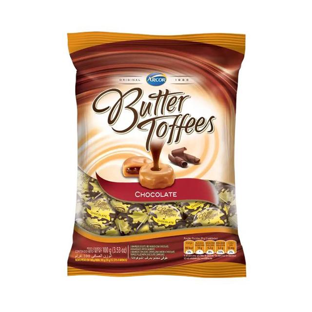 Bala Recheada Arcor Butter Toffees Chocolate 100g