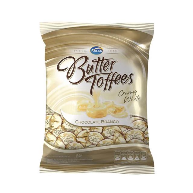 Bala Recheada Arcor Butter Toffees Chocolate Branco 100g