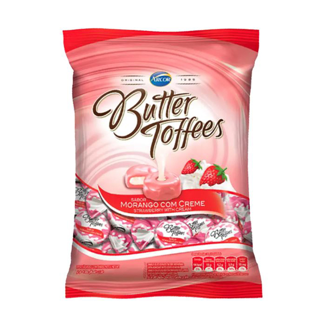 Bala Recheada Arcor Butter Toffees Morango 100g