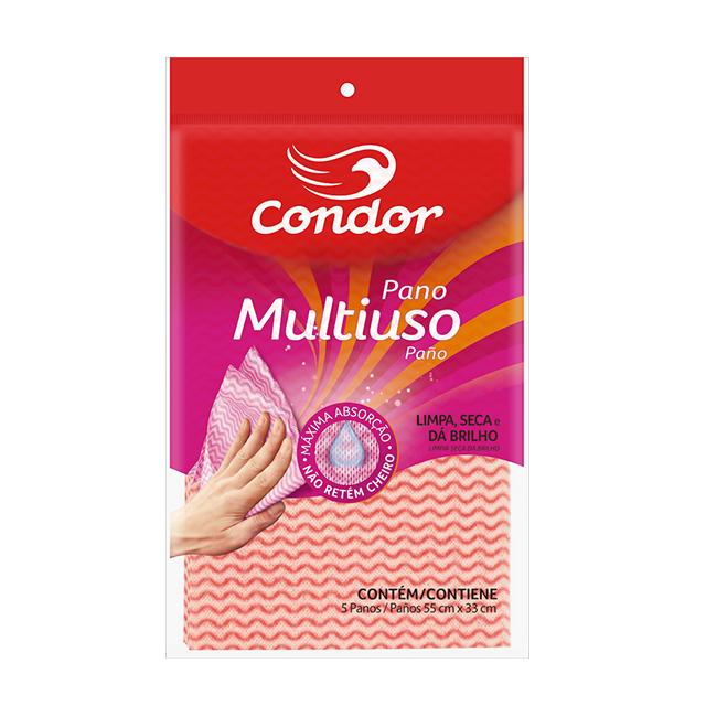 Pano Condor Multiuso Rosa | Com 5 Unidades | Ref: 1673
