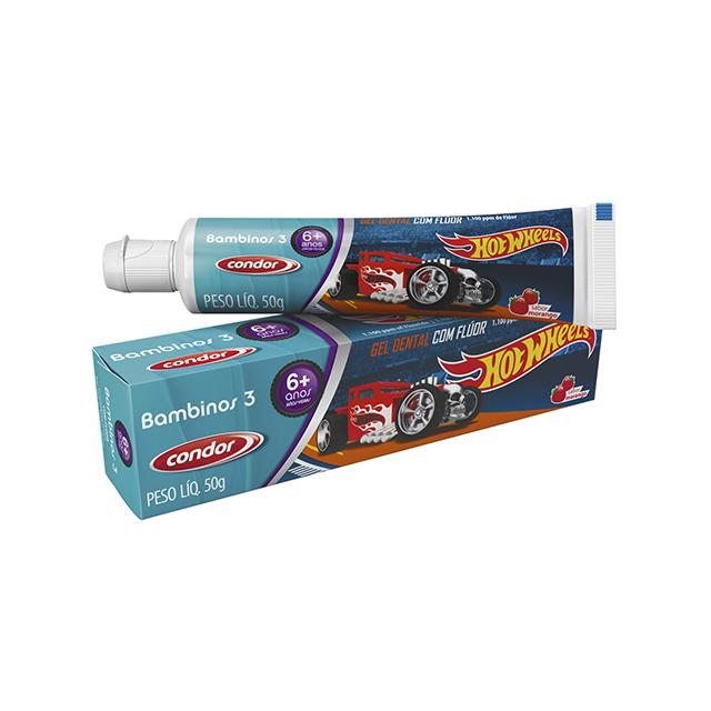 Gel Dental Infantil Condor Hot Wheels Bambinos 3 50g