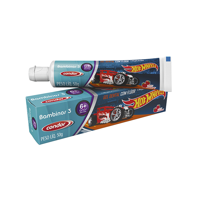 Gel Dental Infantil Condor Hot Wheels Bambinos 3 50g