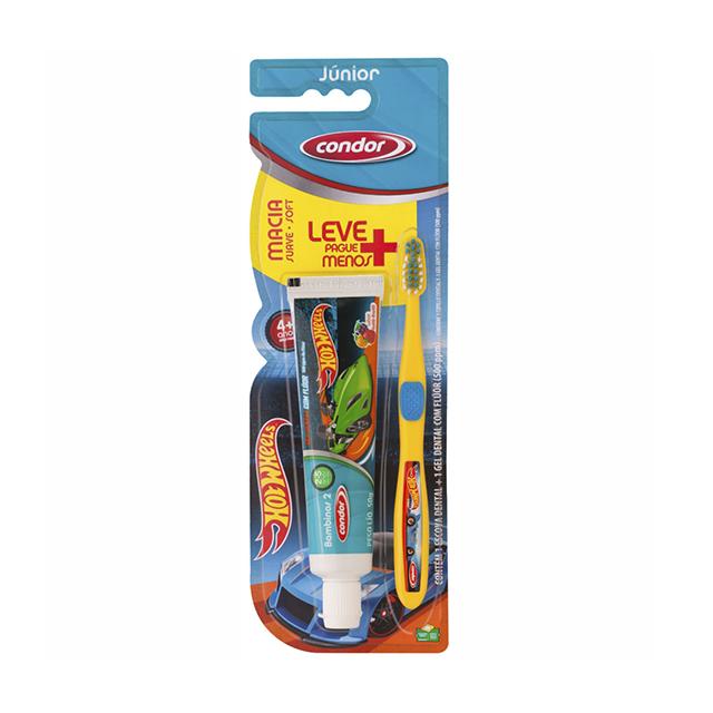Kit Dental Infantil Condor Hot Wheels Escova Dental e Gel Dental | Ref: 8160