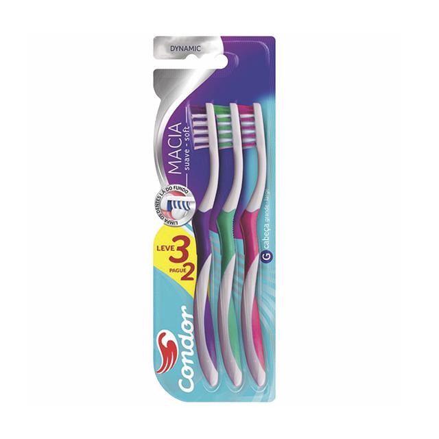 Escova Dental Condor Dynamic Macia Leve 2 Pague 1 Unidade | Ref: 81060