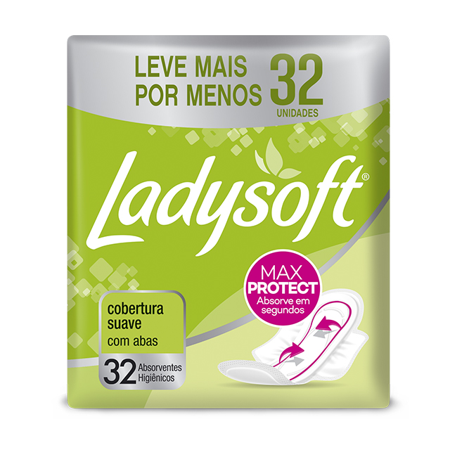 Absorvente Externo Ladysoft Normal Cobertura Suave com Abas   Com 32 Unidades
