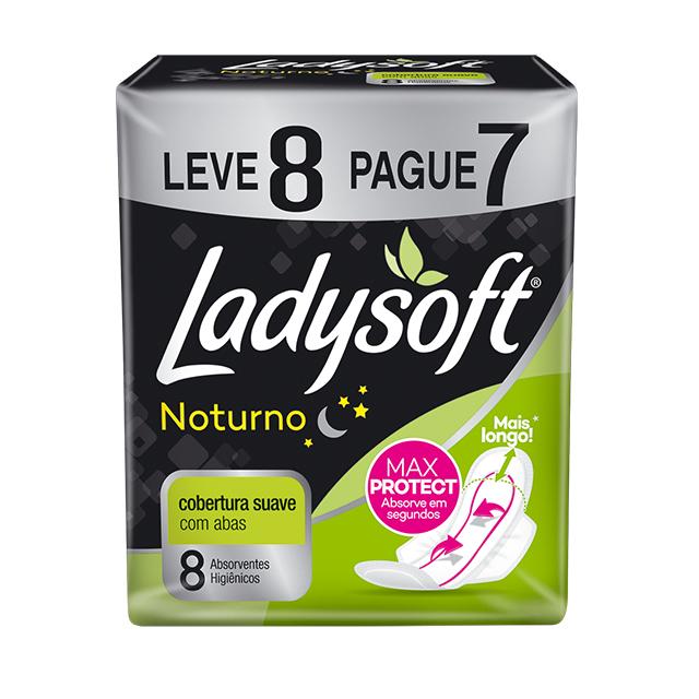 Absorvente Externo Ladysoft Noturno Cobertura Suave com Abas Leve 8 Pague 7 Unidades