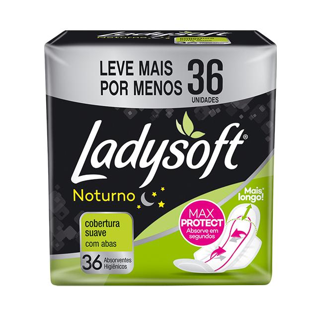 Absorvente Externo Ladysoft Noturno Cobertura Suave com Abas   Com 36 Unidades