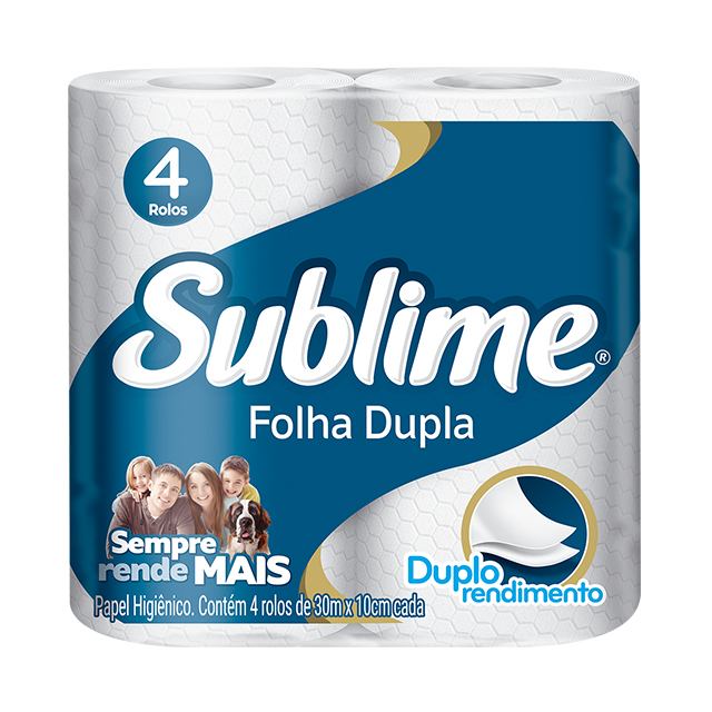 Papel Higiênico Softys Sublime Folha Dupla Neutro 30M   Com 4 Unidades