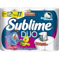 Papel Higiênico Sublime Duo Folha Dupla 30m Leve 12 Pague 11 Unidades