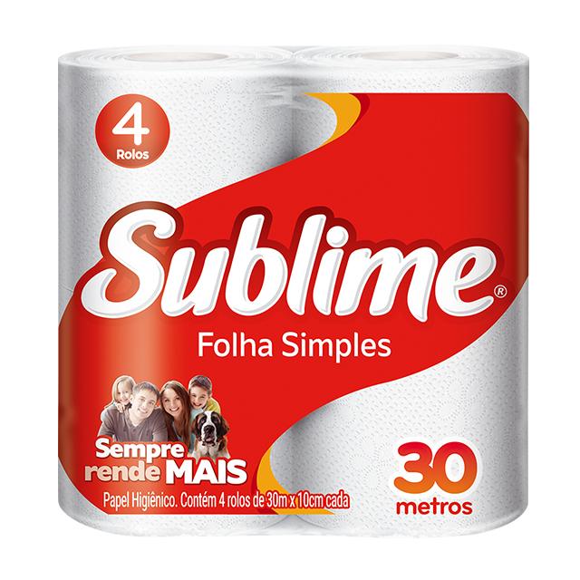 Papel Higiênico Softys Sublime Folha Simples Neutro 30M   Com 4 Unidades
