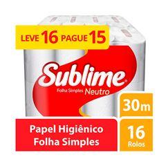 Papel Higiênico Softys Sublime Folha Simples Neutro 30m Leve 16 Pague 15 Unidades