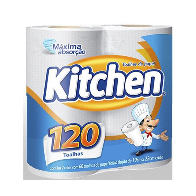 Papel Toalha Kitchen   Com 2 Rolos Cada Um Com 60 Folhas