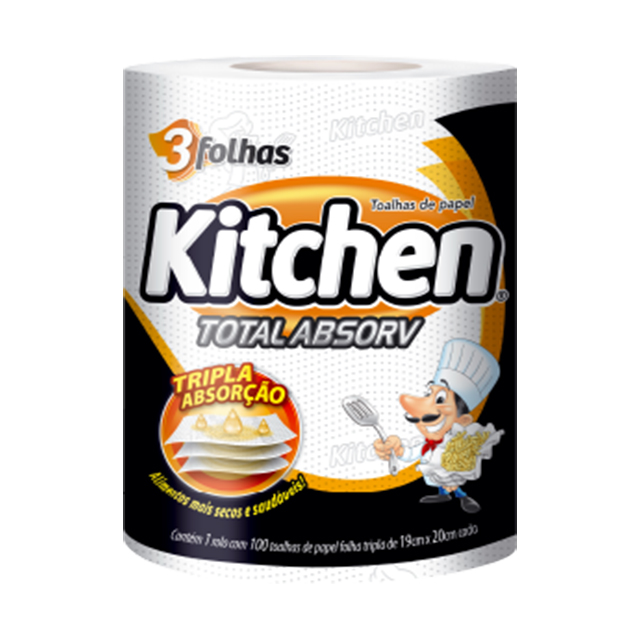 Papel Toalha Kitchen Folha Tripla | Com 100 Folhas