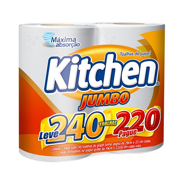 Papel Toalha Kitchen Leve 240 Pague 220 Folhas   Com 2 Unidades