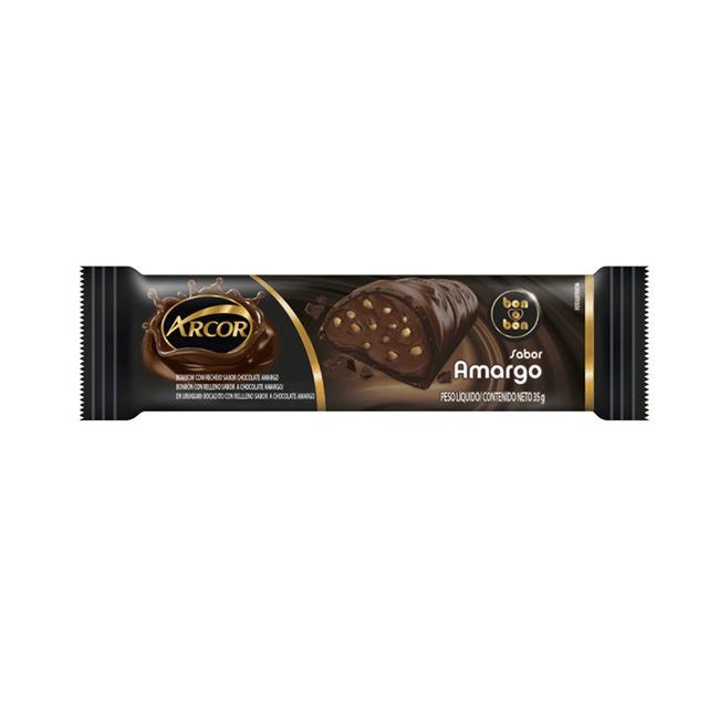 CHOCOLATE ARCOR BON O BON RECHEADO COM CHOCOLATE AMARGO 35G