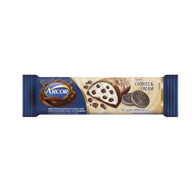 CHOCOLATE ARCOR BON O BON RECHEADO COM COOKIES & CREAM 37G