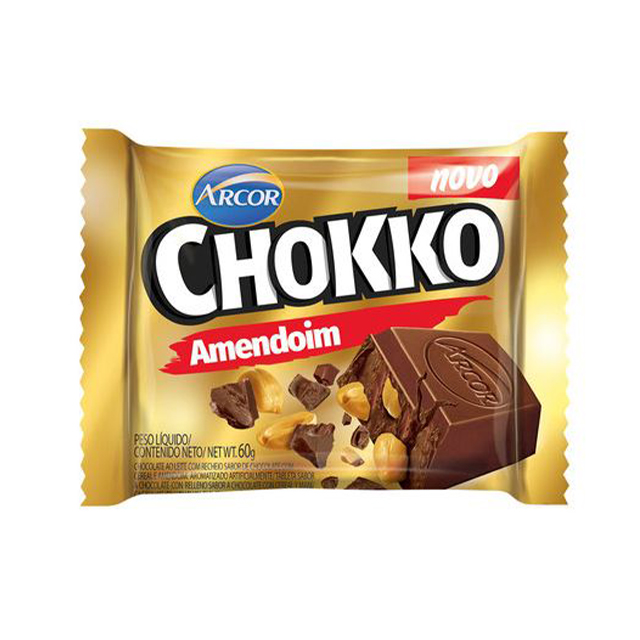 Chocolate em Barra Arcor Chokko Amendoim 60g