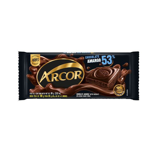 Chocolate em Barra Arcor Amargo 53% Cacau 80g