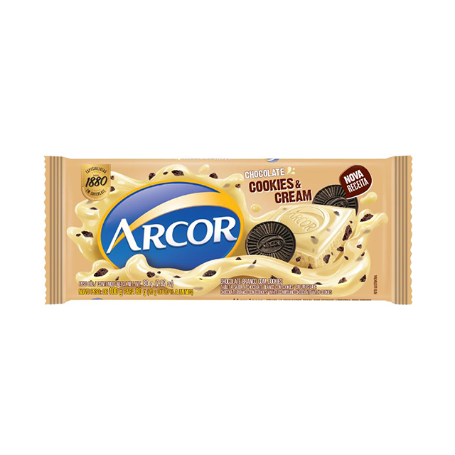 Chocolate Em Barra Arcor Branco Cookies & Cream 80g