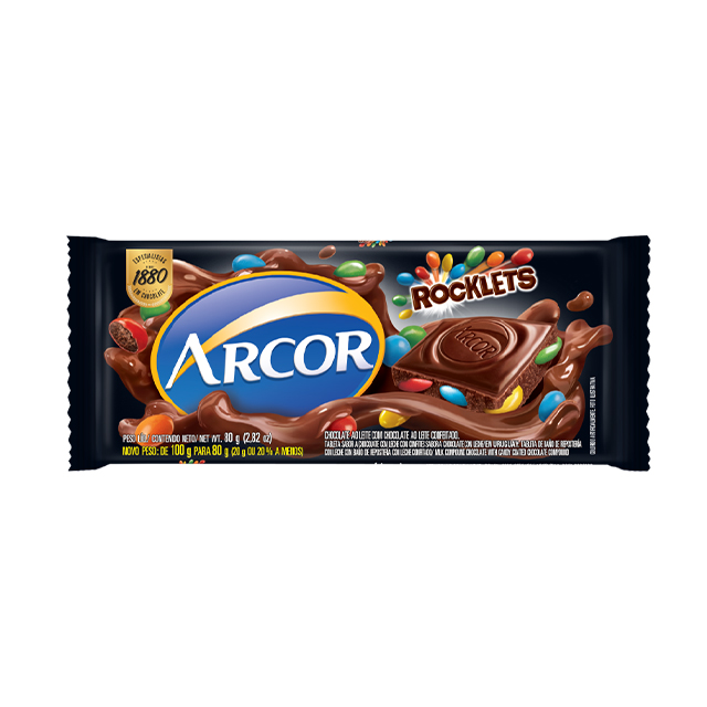 Chocolate em Barra Arcor Rocklets 80g