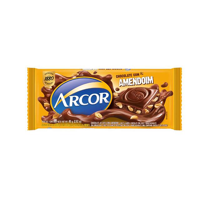 Chocolate em Barra Arcor Amendoim 80g