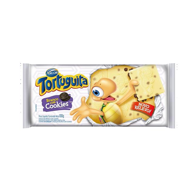 Chocolate Em Barra Arcor Tortuguita Branco Com Cookies 100g