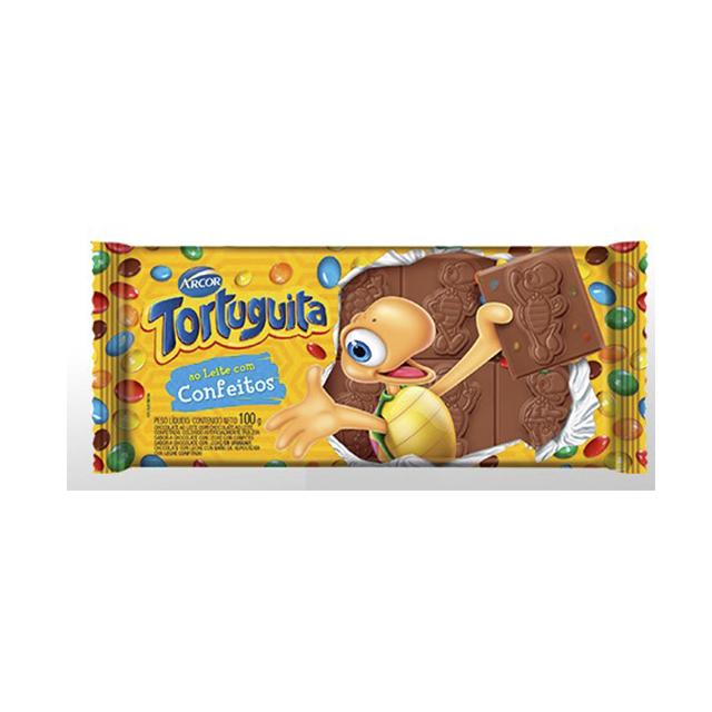 Chocolate Em Barra Arcor Tortuguita Confeitos 100g