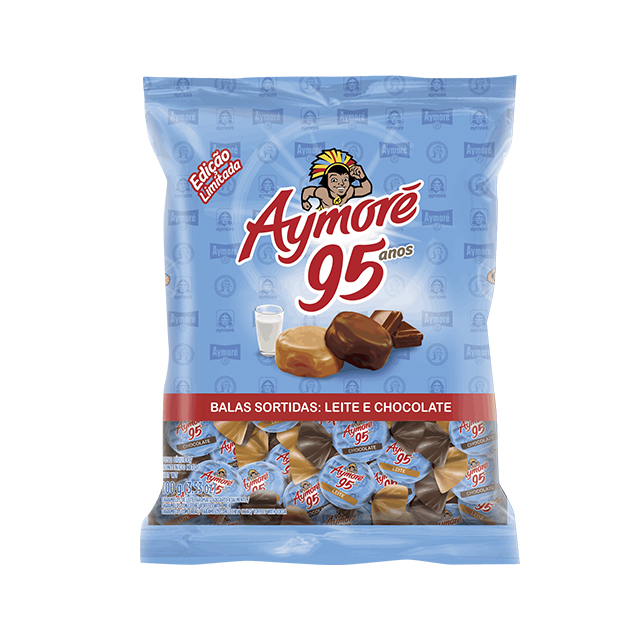 Bala Recheada Aymoré Sortidas Leite e Chocolate 100g